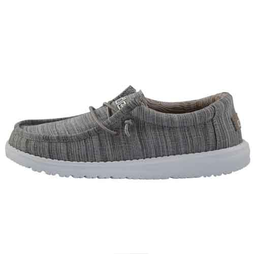 HEY DUDE YOUTH WALLY LINEN STONE LEFT VIEW