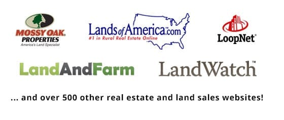 list with us on over 500 real estate and land sales websites